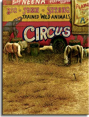 The Performers, an oil painting by Janet Kruskamp, presents a circus wagon parked in the weeds with miniature horses grazing around the wagon in front of a bale of hay. The worn side of the trailer depicts Baby Neena, the performing elephant, part of Big John Strong's trained wild animals. An old poster for Flamo the fire eater is tacked onto a weathered sheet of wood on the side of the trailer.