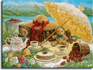 A Beary Nice Picnic, a sumptuous lakeside repast, including tea, cake, flowers and strawberries, set for three little brown teddy bears. Tea is poured for two in the coordinated floral pattern cups. A frosted cake topped by a solitary strawberry sits on the tablecloth next to a basket of strawberries on its side, overflowing berries. A large parasol and beribboned hat await the return of their young owner. A beatiful spot in the flowers, overlooking a placid lake against the mountainous background. one of the Janet Kruskamp Teddy Bear Gallery of  Original Paintings by Janet Kruskamp