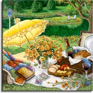 A Lazy Daisy Afternoon by painter Janet Kruskamp. A light yellow parasol leaning on its side highlights this picnic ready to commence. The french bread and cheese from the picnic basket have been sliced, the red wine has been poured. A handmade quilt cascades out of a basket with a favorite book holding down the bottom edge. A clear glass vase holds fresh cut daisies, with more daisies laying along the edge of the white blanket holding the picnic. The well manicured grounds continue down to a still pond. A small island accessible by a small bridge holds a couple of garden chairs, and a blue birdhouse sits atop a white pole behind the picnic spread. Own your own high quality giclee of this original oil painting by artist Janet Kruskamp.