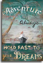 Adventure, a wonderful vintage travel poster from artist Janet Kruskamp. The majestic liner in the center, heading directly for you, grabs your attention as it steams upon a flat green sea. The words 'Adventure - Always hold fast to your Dreams' decorate this weathered and worn poster. A stately palm tree curves up and over the foreground from the left side, light green leaves forming a background for the headline ADVENTURE. The appearance of this poster is more worn than most. Parts of the paint have worn completely off on either side of the ship.