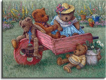 Amys Bears, a painting of a teddy bear family of four on and about a wooden wheelbarrow out on the lawn, one of the Janet Kruskamp Teddy Bear Gallery of Original Oil Paintings and  Original Paintings by Janet Kruskamp
