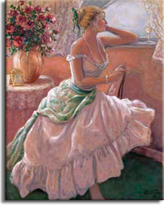 Anticipation, a beautiful original oil painting by painter Janet Kruskamp, available as an Original Oil Painting in various sizes hand by the artist. A beautiful woman, with blonde hair carefully arranged up on her head, clothed in a gorgeous light colored gown with a large scarf tied around her waist. She sits sideways on a chair looking longingly out the window, her left elbow resting on the high window sill. An ornately framed photo sits next to a large vase of roses on a small round table behind her. A wine glass sits in front of the woman in the draped window sill. You can own an enhanced and hand-signed reproduction of this lovely painting of your very own.