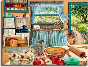 Apple Pie Harvest a painting of a 1920's farm kitchen displays a table filled with materials and ingredients for making apple pies. An enamel coffee pot simmers on the stove ,other pies cool on the breezy window sill and outside in the apple orchard,a ladder leans against an apple tree awaiting another picking, one of Janet Kruskamp's Interior and Exterior Scenes Paintings Gallery of original oil paintngs by Janet Kruskamp.