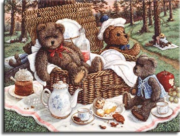 Bears Picnic, a painting of ma and pa bear sitting in the wicker picnic basket while baby bear sits with tea and dessert. The surrounding woods are filled with teddy bear picnics, one of the Janet Kruskamp Teddy Bear Gallery of original oils and  Original Paintings by Janet Kruskamp