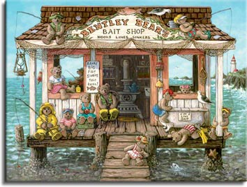 Bentley Bears Bait Shop, a nautical painting of a bait shop out on the water with an antique wood burning stove in the middle, filled with teddy bears fishing and sitting. A lighthouse sits on the point in the distance, one of the Janet Kruskamp Teddy Bear Gallery of Original Oil Paintings and  Original Paintings by Janet Kruskamp