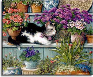 Purr-fect Reflection, a painting by Janet Kruskamp of a fluffy white mama cat and her two matching kittens playing on a dresser top with the dresser mirror reflecting the cats and the room behind, part of the Cat Paintings Gallery of original oil paintngs by Janet Kruskamp.