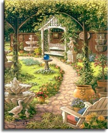 Janet Kruskamp's Paintings -  Blue Gazing Ball, a painting of a back yard's cobblestone path framed by the trees, looking towards a white gazebo with a blue gazing ball on the other side of the path. The yard is wonderfully landscaped with flowers, fountains and planters and a white adirondack chair. One of the Gardens and Florals Gallery of original oils and  original paintings by Janet Kruskamp