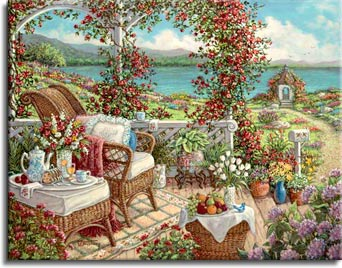 Janet Kruskamp's Paintings - Breakfast on the Veranda, a painting of a colorful setting for breakfast amidst the purples, reds, yellows and blues of all the flowers and vines surrounding the sumptuous repast on the wicker table next to the wicker chair and atop a small wicker basket on the ground on the veranda. One of the Gardens and Florals Gallery of Original Oil Paintings and  original paintings by Janet Kruskamp