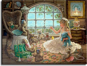 Bright Visions, a painting of a beautiful little blond girl playing dress up and blowing bubbles for her teddy bears in the attic, one of Janet Kruskamp's Paintings in her Figure and Genre Gallery - original oil paintngs by Janet Kruskamp.