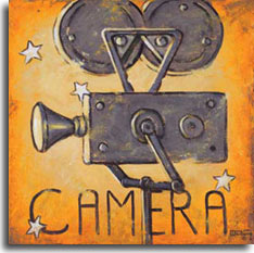 Camera, another nostalgic movie poster from artist Janet Kruskamp. The golden weathered background, brighter in the middle and darkening to the corners, has a scattering of stars representing the real stars of Hollywood, the actors. This vintage motion picture camera, mounted on a pole, is the instrument that captured our favourite actors and actresses for all time, for us to enjoy again and again. The motion picture camera is Hollywood.