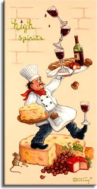 Whimsical Chef High Spirits, one of a set of four original oil paintings by artist Janet Kruskamp depicting a whimsical chef in a white chef jacket, blue striped pants and a bright red scarf tied around his neck. In this painting, the chef's right leg is balanced on a giant wheel of cheese, a large slice of which is balanced on a serving platter in his right hand. His right foot balances a glass of red wine, while his left hand holds a larger white platter with a mostly full bottle of red wine, three full wine glasses impossibly balanced on top of each other. The platter also offers a fancy loaf of bread, muffins and a small wheel of cheese, the red wax shell showing the cheesy center with a perfect wedge cut out. A small brown mouse nibbles on the edge of the giant cheese platform, in the wheel's cutout is a bunch of dark red grapes and a larger red wax cheese wheel cut open. This highly detailed painting is available as an original oil or acrylic on canvas painting by the artist Janet Kruskamp.