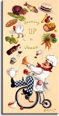 Whimsical Chef Serving Up a Feast, one of set of four posters featuring the whimsical chef. This one features the chef and his magical juggling act, keeping all the courses of a feast fit for a king in the air simultaneously, all while balanced on an old style bicycle with the large wheel on the front. Leaning back, the chef has his left foot on the pedal, and his right foot balancing a ceramic coffee pot. Circling in the air are: a bunch of carrots with red and green peppers; a baked ham studded with pineapple; a banana and an apple; a two layer frosted chocolate cake; a rainbow trout; purple cabbage; radishes and celery; a loaf of french bread; a live white chicken, squash and artichokes; a bottle of red wine dripping into a half full wine glass; and a frosted cupcake. The chef holds a pear and an apple in his hands, his pocket holds a pink frosted cupcake with a bite out of it. A small white bowl at the base of the bicycle holds plump red tomatoes. This tasty painting is available for purchase as an original oil or acrylic on canvas painting by the artist Janet Kruskamp.