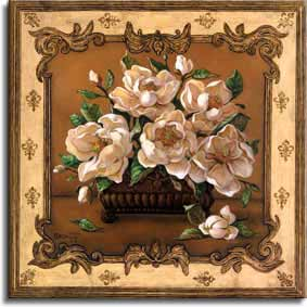 Classical Magnolia, a lovely painting of an arrangement of magnolia blossoms in a square vase. The blossoms are so large the vase, which sits on a shelf against a brown wall, is mostly obscured by the five opened flowers in the arrangement. An unopened flower sits on the shelf next to the vase. The wonderful border around this painting, with intricate scrollwork in the corners and a fleur de lis type pattern, gives the illusion of looking in through a beautiful window, framed by the border. This is a new giclee , personally enhanced and by artist Janet Kruskamp.