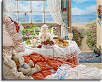 Janet Kruskamp's Paintings - Cottage by the Sea, a painting depicting the interior of a room of the seaside cottage, the open door beckoning the unoccupied room down the path to the seashore. A Siamese cat sits at the door waiting, along with her brown teddy bear on the bed, for her young mistress to return. The table next to the bed is set with fresh strawberries and grapes, along with pastries and tea. One of the Gardens and Florals Gallery of Original Oil Paintings and  original paintings by Janet Kruskamp