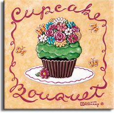 Cupcake Bouquet, another Cupcake poster from painter Janet Kruskamp. This cupcake features an incredibly lifelike flower bouquet on top of green frosting. More than a dozen bright flowers, visited by a bright butterfly, adorn this culinary work of art including pink roses, white, blue and pink daisies, and yellow and white chrysanthamums all compete for space atop the tiny cupcake. The butterflies also inhabit the background of this poster. A red border includes the script words Cupcake at the top and Bouquet across the bottom, script that continues as the side borders. A small bright flower leans up against the paper encasing the bottom of this festive cupcake. This original painting is available from the artist, Janet Kruskamp.