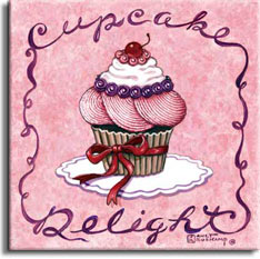 Cupcake Delight, one of a new series of cupcake posters by artist Janet Kruskamp. This bright pink poster features a fancy frosted cupcake sitting in the center on a white doily. A red ribbon is tied around the fluted cupcake paper on the bottom half of the cupcake. The top is heavily frosted beginning with huge striated pink swirls, a ring of blue berries separate the whiipped cream from the pink swirls. The delightful confection is topped off by a bright red cherry sitting on a ring of round, red balls. The fancy scrollwork border reads Cupcake on the top and Delight on the bottom. This original painting is available from the artist, Janet Kruskamp.