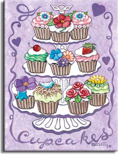 Cupcakes, a yummy new poster from painter Janet Kruskamp. The lavender poster features a triple layer dessert tray holding ten fancy cupcakes, four on the bottom level and three each on the center and top levels. Purple hearts and a scroll purple border with the word Cupcakes across the bottom frame this poster. The white fluted and scalloped holder with a small handle on top provide a white counterpoint to the brightly colored cupcake toppings. Red, purple and blue peonies, pink roses, yellow daisies, and white with blue center small flowers decorate the cupcakes in their paper wrappers. A delicious red strawberry, a shiny red cherry and a nesting bluebird round out the cupcake toppings. This marvelous poster is available from the artist Janet Kruskamp.