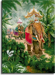 Elephants Festival Bound, an oil painting of brightly decorated elephants being ridden to the festival, one of Janet Kruskamp's Original Oil Paintings, ,  by artist Janet Kruskamp