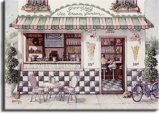 Goodies Ice Cream Parlor, a painting of an old-fashioned ice cream parlor with two children sitting on high stools at the counter inside and a dog curled up outside the front door, one of Janet Kruskamp's Paintings - Figure and Genre Gallery - original oil paintngs by Janet Kruskamp.