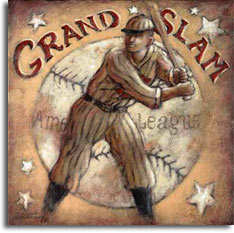 Grand Slam, a poster painting from Janet Kruskamp, evokes a time past in the American League. A ballplayer stands ready at the plate, his bat cocked and waiting for his pitch to drive out of the park. A worn baseball surrounded by a half a dozen white stars forms the background of this sepia toned painting. This painting is available for purchase as an acrylic on canvas painting by the artist Janet Kruskamp.