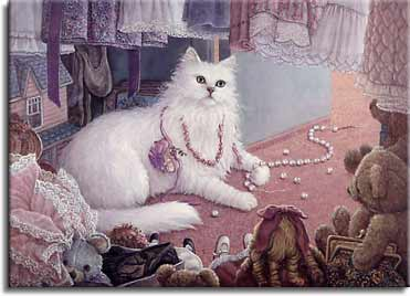 Hiding from Jessica, a painting by Janet Kruskamp depicting a fluffy white cat in the bottom of the little girl's closet playing with a broken play pearl necklace, draped in other necklaces and surrounded by dolls and teddy bears, part of the Cat Paintings Gallery  of original oil paintngs by Janet Kruskamp.