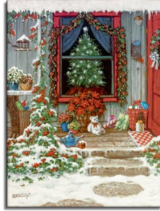 Holiday Front Porch by artist Janet Kruskamp.