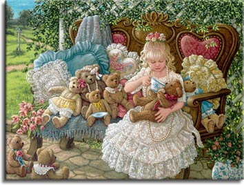 Hollys Bears, a painting of a young girl having a tea party with her teddy bears in the garden sitting on a wooden bench on pretty pillows, surrounded by her bears. One of Janet Kruskamp's Paintings - Figure and Genre Gallery - Original Oils and  Original Oil Paintings, by Janet Kruskamp