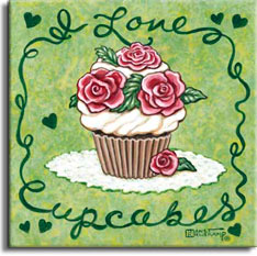 I Love Cupcakes is another poster from artist Janet Kruskamp in the Cupcakes series of posters. This rose themed cupcake sits on a light green background surrounded by a fancy dark green border. The border incorporates I Love across the top and Cupcakes along the bottom by beginning and ending the script lettering with extensions that become the side borders. The delicious cupcake is piled high with swirls of white icing, and topped with lovely pink roses and green leaves. The roses start in the center with a dark pink color that lightens to a very light pink as it gets to the outer edge of the petal. A small matching rose with tiny leaf sits against the bottom of the papered cupcake.
