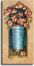 Janet Kruskamp's Paintings - Icelandic Poppies 1, a painting of reddish-orange poppies in a hammered metal vase. The vase is framed by a narrow, rectangular cutout with the poppies spilling out in front of the frame at the top. One of the Gardens and Florals Gallery of Original Oil Paintings and  original paintings by Janet Kruskamp