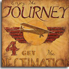 "Journey is a new poster from artist Janet Kruskamp. The striking Art Deco styled poster has the text ""Enjoy the Journey, 4 get the Destination"". A wonderful vintage monoplane flies in front of a sun circle with red wings on either side in the center of this weathered looking poster. The sun's rays are faintly visible in the background, radiating outwards from the center. This tan and red colored poster gives a new twist to the saying ""It's not the destination, it's the journey"" in a wonderful, nostalgic way. Purchase the original painting of this poster for yourself or the adventurous one in your family."