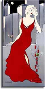 "La Dame en Rouge, a giclee , personally enhanced and by the artist Janet Kruskamp showing an illustration of a chic woman dressed in a red evening gown against a stylized city skyline. The woman is sitting next to a martini glass. A large martini glass sign on her left spells out ""Martini""."