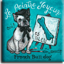 Le Peintre Joyeux, a whimsical poster painting by Janet Kruskamp, shows a black and white French bull dog sitting next to a short easel holding a wet painting of a blue bone titled OS BLEU. Two paint brushes lay on the ground, a beret and bow dress the bull dog. The light blue/green colored background features the words Le Peintre Joyeux in white arched across the top, the words French Bull dog in black across the bottom. Additionally, the word Oui! is to the left of the dog.  Lovers of the breed will love this new addition to Janet Kruskamp's original paintings, available directly from the artist.