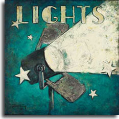 Lights, an original painting from the classic movie poster collection by artist Janet Kruskamp. The word LIGHTS is across the top in a vintage font, and the single light on top of a pole on the left side and angled slightly up, projecting a bright beam of light expanding out toward the top of the right side of the poster. Assorted stars sparkle on this weathered looking poster.