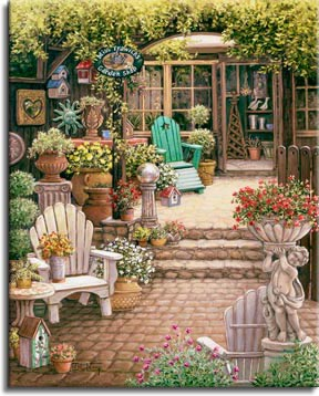 Janet Kruskamp's Paintings - Miss Trawick's Garden Shop, a painting of a courtyard leading towards an open door, a courtyard filled with all sizes and shapes of flower planters and flowers, statuary, a gazing ball and wooden patio furniture are also in the courtyard framed by trees and flowers. One of the Gardens and Florals Gallery of Original Oil Paintings and  original paintings by Janet Kruskamp