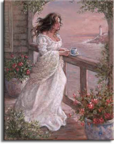 Janet Kruskamp's Morning Breeze, an original oil painting available as an Original Oil Painting in various sizes, personally by the artist. A beautiful woman, her dark hair moving in the coastal breeze, stands at the railing overlooking a lighthouse and the coastline, having her morning coffee. The muted colors of sunrise suffuse the scene with a warm light. Large flowerpots have perfect roses in bloom on either side of the woman. The arch over the handrail is framed in climbing green plants, and more small white flowers balance out the frame. Order your Original Oil Painting of this charming scene by Janet Kruskamp today