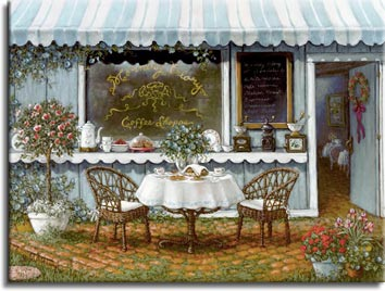 """Morning Glory Coffee Shoppe,"" an enticing table is set for brunch for two in front of the coffee shop. A sideboard is used under the shop window, holding an old-fashioned coffee grinder, coffee pot an more. The cobblestone ground under the table is ringed with brightly colored potted flowers and a beautifully trimmed small pink rose bush. The open door with tables visible inside beckons you in. This is another giclee,  personally enhanced and then hand by the artist, Janet Kruskamp."