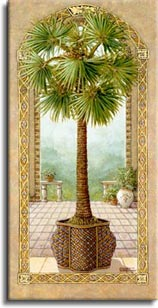 Palm Tree in Basket 2, a painting of a palm tree in a very decorative basket planter, inside an open arch and in front of another arch framing the garden of the palace, one of Janet Kruskamp's Original Oil Paintings, ,  by artist Janet Kruskamp