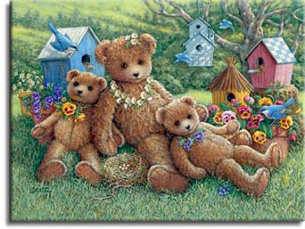 Pansy, Daisy & Viola, a painting of three bears on the lawn with a backdrop of flowers, many birdhouses and birds, one of the Janet Kruskamp Teddy Bear Gallery of original oils and  Original Oil Paintings by Janet Kruskamp