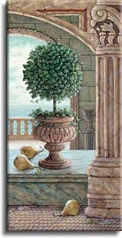 Pear and Topiary, a painting of pears fallen from a sculpted pear tree in marble arches and columns, one of Janet Kruskamp's original paintings,  by artist Janet Kruskamp