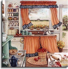 Pie Baking Day, an original oil painting by the artist Janet Kruskamp showing a kitchen scene with orange curtains trimmed with black and white checkers framing a half open window looking out to the fields. A tree stands outside the open kitchen door. All the necessary ingredients and utensils for baking apple pies are in use in this small kitchen. Apples are being peeled and cored on the table on the right. A flour crust is being rolled out after sifting with a wooden rolling pin. Two pies cool in the window sill above the sink, another sits on the pale green stove with a slice served up on a white plate accompanied by a cup of coffee from the blue enamel coffee pot. Shelves on the far wall hold preserved food and the family dishware. One of the Interiors and Exteriors Gallery by Janet Kruskamp.