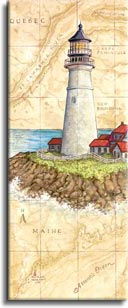 Portland Head Light,a painting of a lighthouse painted against a hand painted map, showing the region and the spot where the lighthouse is located, one of Janet Kruskamp's original paintings,  by artist Janet Kruskamp