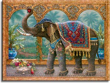 Rajah's Feast, an oil painting of a royal elephant who has broken his golden chain to feast on the fruits and flowers, one of Janet Kruskamp's original paintings,  by artist Janet Kruskamp