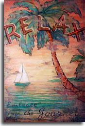Relax, a colorful addition to the vintage travel posters for sale as original paintings by artist Janet Kruskamp. A colorful tropical sunset behind a green hulled, twin sailed boat in the colorful sea. A large palm curves out from the lower right up to the upper left, filling the top of the poster with palm leaves. Over which is emblazoned RELAX in large letters made of wood. Following up is the text: Embrace the Journey in black script along the bottom. The water laps up to the shore reflecting the setting sun, looking like a watery rainbow. Experience the rich colors for yourself with an original painting of your own.