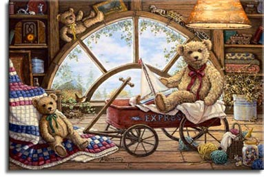 Remembering Yesterday, a painting of light coming through the attic window illuminating a wagon holding one teddy bear holding a sailboat, with two more teddy bears in the picture, with an antique radio on the shelf on the wall. One of the Janet Kruskamp Teddy Bear Gallery of Original Oil Paintings and  Original Oil Paintings by Janet Kruskamp