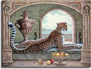 Royal Cheetah, an oil painting depicting a collared cheetah stretched out languidly on a marble floor with a bowl of fruit in front, one of Janet Kruskamp's original paintings,  by artist Janet Kruskamp