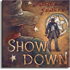 A look back at the American western, ripe in the symbols of the frontier, the marshal with a white hat, six gun strapped to his leg, the silver star on his left breast facing the cowboy down. The script letters spelling out Frontier Justice! in faded red, sit in the upper right of the poster above the marshal. You are drawn into the poster, looking over the shoulder of the bad guy in the lower left corner, the words SHOW DOWN sit over the bad guy's back. The marshal stands in front of a giant tin star in the background, half as high as a man. Order an original painting or paper print of this poster today.