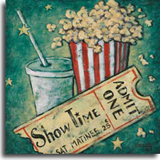 Showtime, a poster in the vintage movie poster collection by artist Janet Kruskamp, takes a nostalgic look at going to the movies for a Saturday matinee for a quarter. The red and white striped popcorn holder overflows with freshly popped popcorn and a soda cup sits alongside with straw through the plastic lid, ready to wash the popcorn down. Your showtime ticket completes the package with the bottom portion raggedly removed. This weathered looking poster is available from the artist.