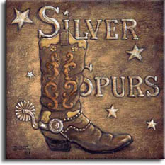 This beautifully nostalgic look at the Old West by artist Janet Kruskamp features an antique background with the words Silver Spurs embossed from behined through the background. A well broken in cowboy boot sits in front of and to the side of the title in the background, complete with a large silver spur firmly attached to the boot. A scattering of burnished embossed stars on the medium brown background completes the poster. Available in paper prints, original paintings, and limited availablity of original canvas paintings directly from the artist, Janet Kruskamp.