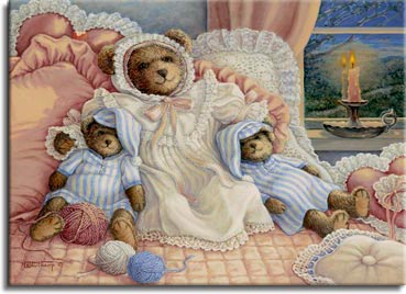 Sleepy Time Bears, a painting of a large bear with smaller ones on either side, all wearing nightgowns and hats for bed propped up by lace pillows. A candle is reflected in the bedroom window behind the bears. One of the Janet Kruskamp Teddy Bear Gallery of  Original Oil Paintings by Janet Kruskamp