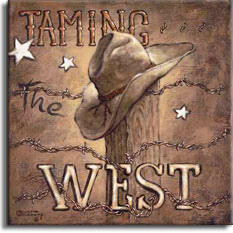 Taming the West, a new poster by renowned artist Janet Kruskamp, shows two iconic symbols, strands of barbed wire twisted around a wooden post and a battered cowboy hat worn a million dusty trail miles. The words Taming The West sit alternately behind and in front of the post, the barbed wire entwined around and through the word WEST across the bottom. Three small white stars sit on the dark brown background. Order an original painting of this poster today.